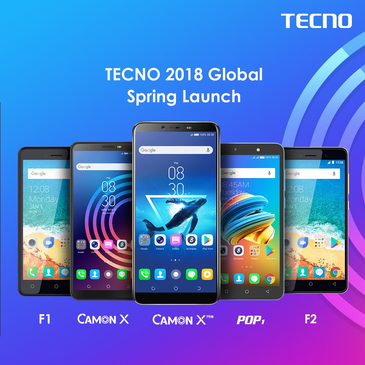 Tecno Mobile F series smart phones, running android go