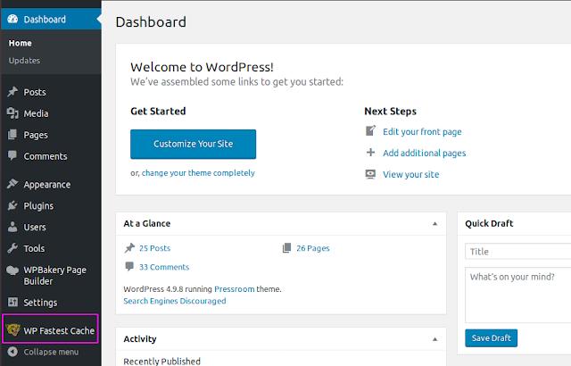 Cara Optimasi Wordpress Dengan Plugin WP Fastest Cache