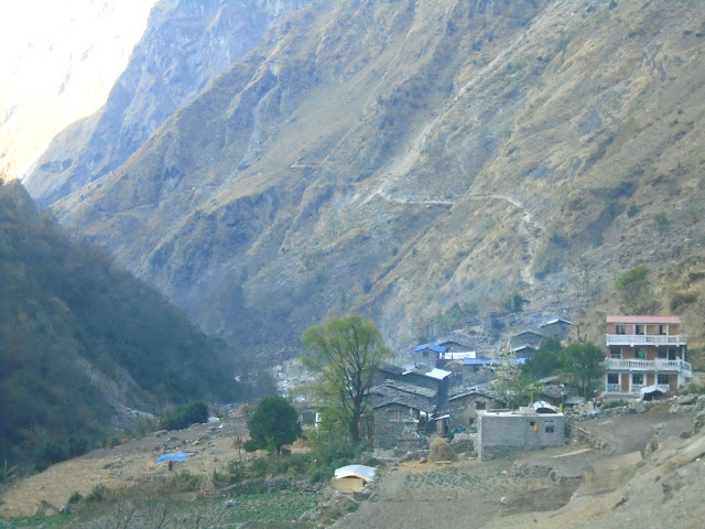 Shidibas Manaslu Village , Manaslu trekking route after Jagat.