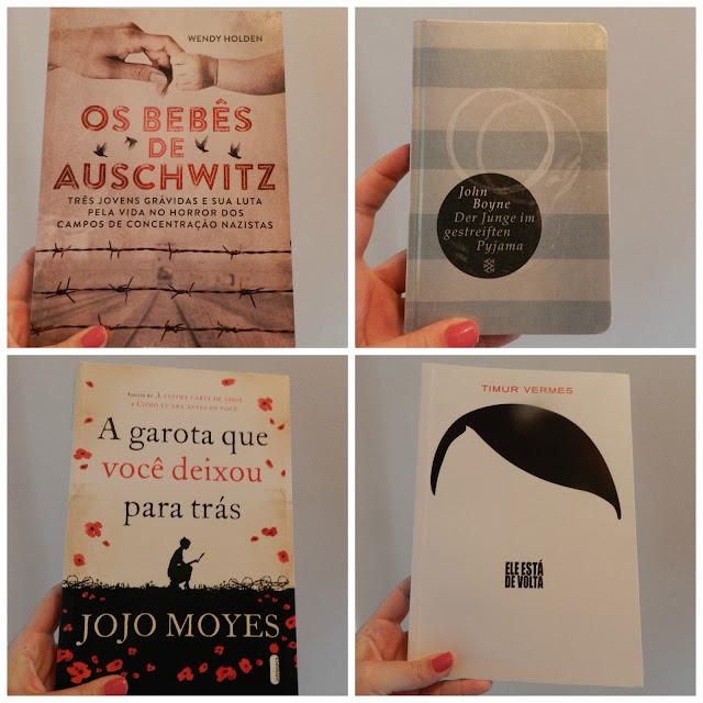"""Livros """"Os bebês de Auschwitz"""", """"O menino do pijama listrado"""", """"A garota que você deixou para trás"""" e """"Ele está de volta"""""""