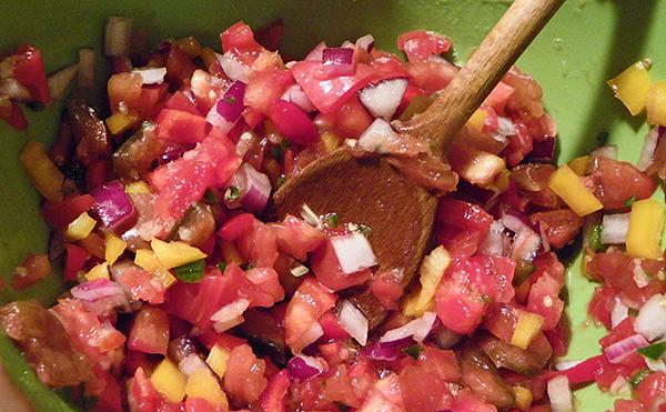 Salsa Prep: stirring ingredients together