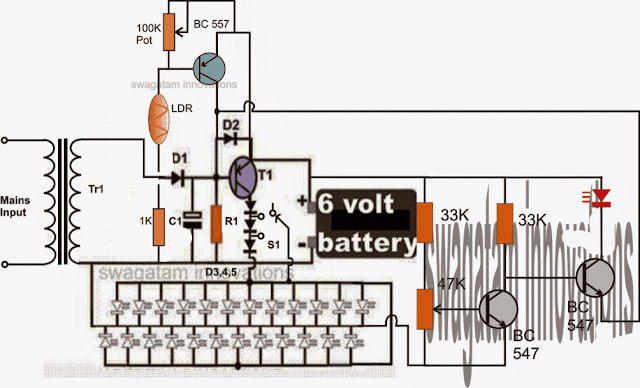emergency lamp circuit with low battery sense and cut off