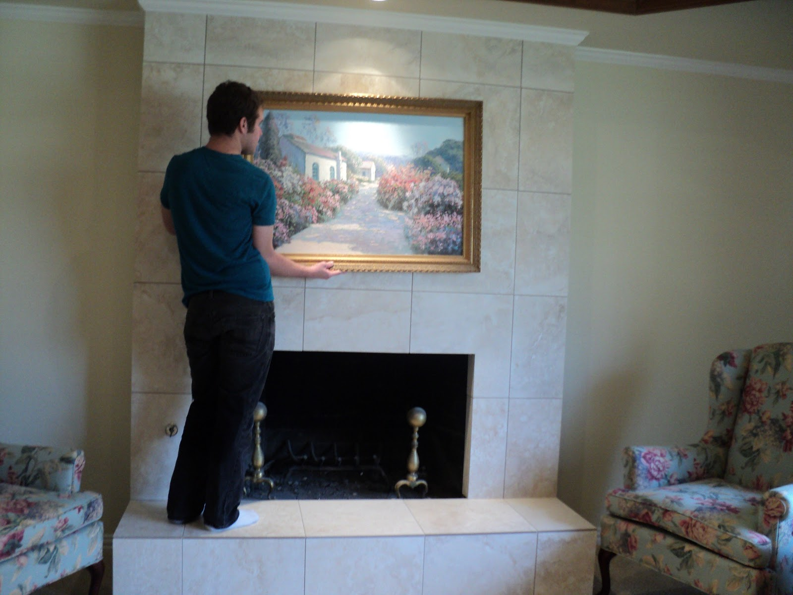 French Country With A Twist: Tile Over Brick Fireplace