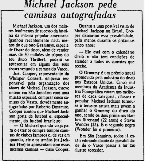 1e85901c2b VASCO 1983  MICHAEL JACKSON PEDE CAMISAS AUTOGRAFADAS