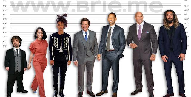 Peter Dinklage, Jada Pinkett Smith, Jaden Smith, Tom Cruise, Will Smith, The Rock, and Jason Momoa height comparison