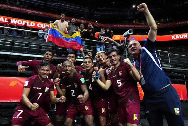 Venezuela comemora vaga histórica para as oitavas da Copa do Mundo de Futsal