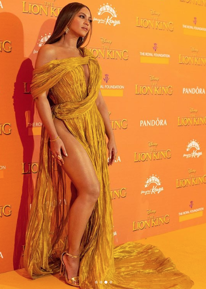 Beyoncé at the premiere of Lion King in London