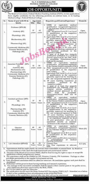 federal-medical-college-islamabad-jobs-2021-advertisement