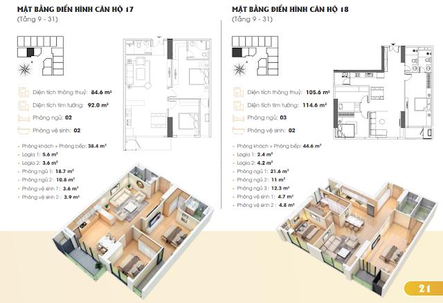 Thiết kế căn hộ 17 18 Golden Park Tower