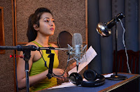 Actress Catherine Tresa Pos during Self Dubbing for Gautham Nanda Movie  0033.JPG