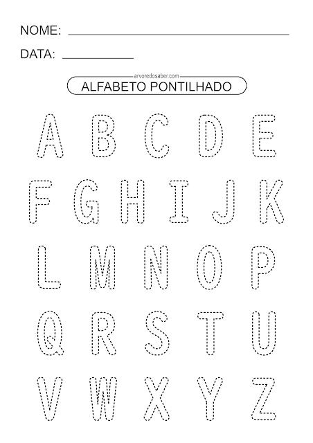 Alfabeto Pontilhado para Imprimir