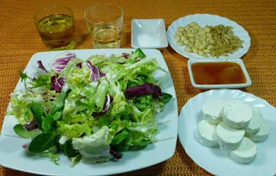 Ensalada templada de queso de cabra. Ingredientes