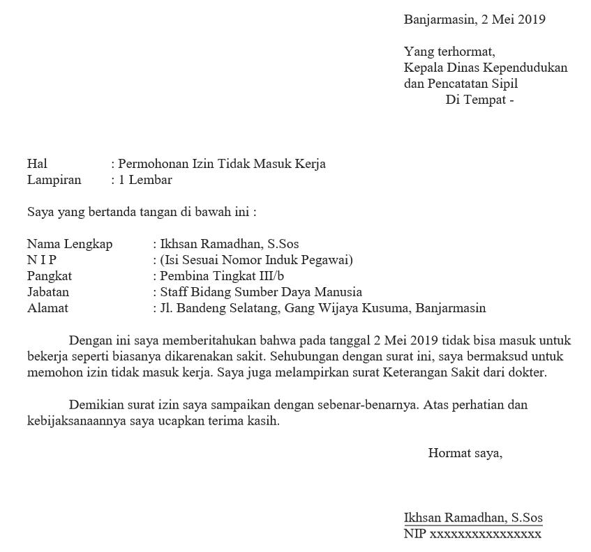 Contoh Surat Izin Sakit Formal Pegawai Negeri Pns Ashadin