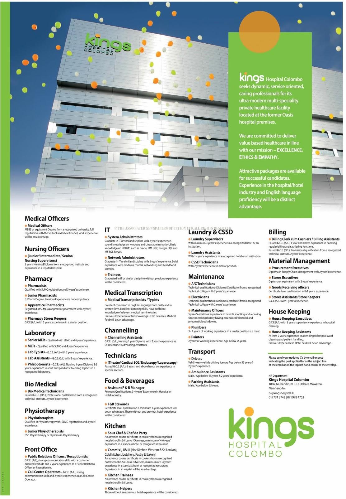 Vacancies at Kings Hospital Colombo