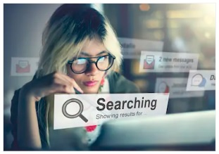 Girl is searching online