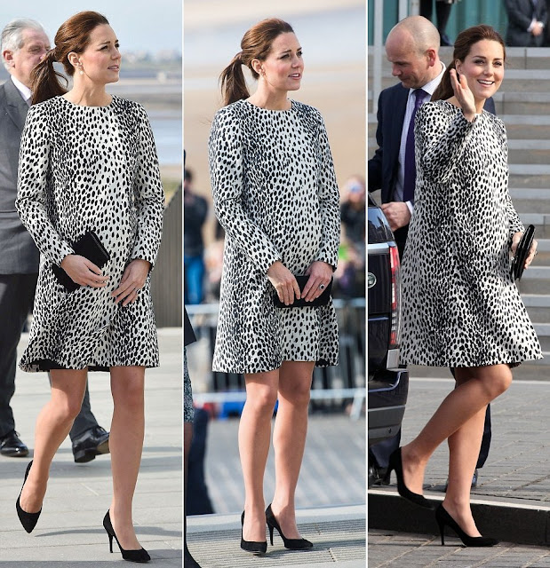 Kate Middleton wore HOBBS Animal Print Coat, ANNOUSHKA Earrings, STUART WEITZMAN pumps, MULBERRY Clutch Bag