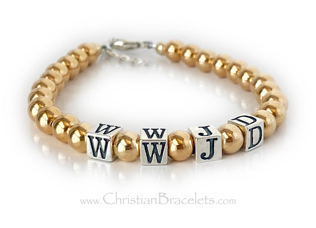 Gold and Sterling Silver WWJD Bracelets - What Would Jesus Do