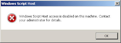 Windows Script Host Access is disabled