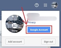 Google account button of gmail