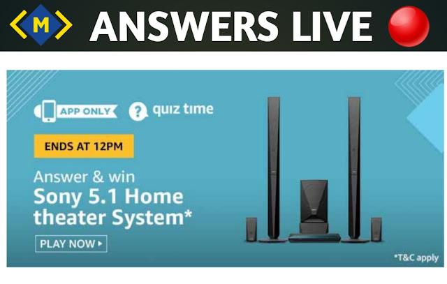 Amazon Quiz Contest Answers - Win Sony Home Theatre System