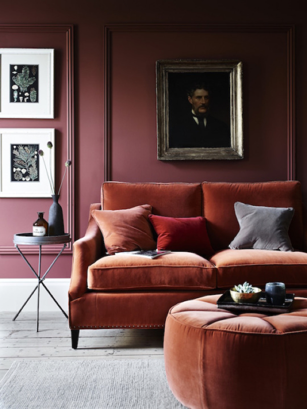 Such yummy colors and that velvet sofa beckons to me.