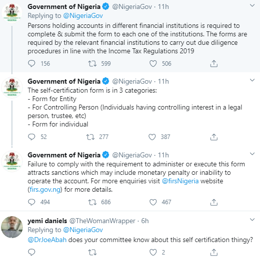 Nigerians express outrage as FG announces on Twitter that all bank account owners are to undergo compulsory registration exercise different from BVN