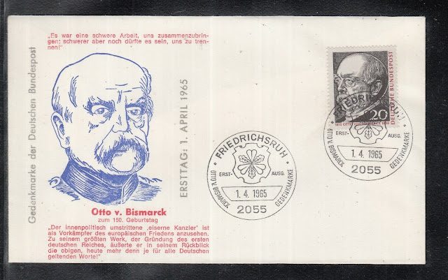 German First Day Cover issued for the 150 birthday anniversary of Otto von Bismarck