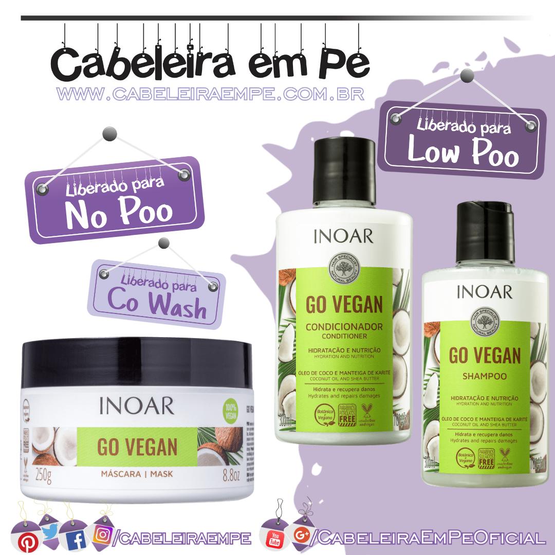 Shampoo e Condicionador (Liberados para Low Poo) e Máscara (No Poo) o Vegan Hidratação e Nutrição - Inoar