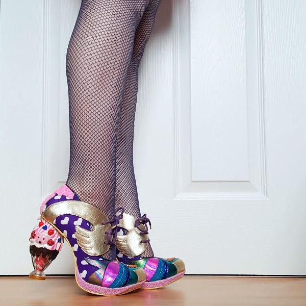 wearing ice cream shaped heels in bright colours