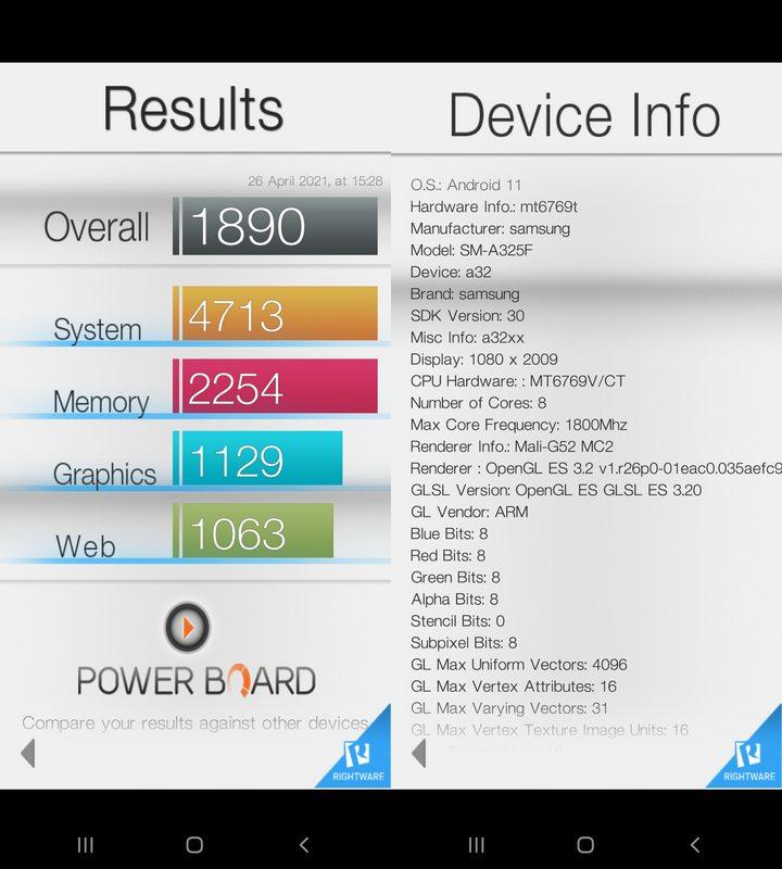 Benchmark Basemark OS II Samsung Galaxy A32