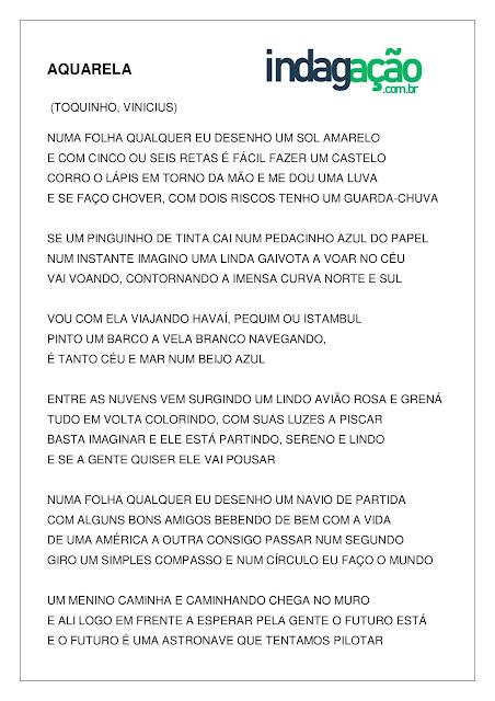 Atividade texto música Aquarela pronta para imprimir