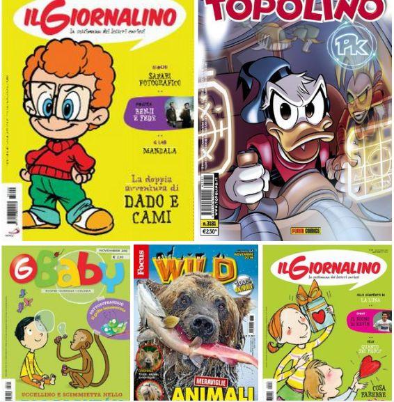 - Il Giornalino - 6 Novembre 2016  - Topolino 3181 – 15 Novembre 2016  - G Baby - Novembre 2016  - Focus Wild - Novembre 2016  - Il Giornalino N.43 – 30 Ottobre 2016