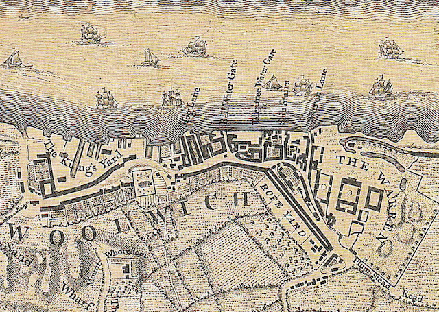 John Roque, map of London, 1746, Woolwich, River Thames