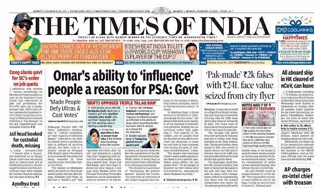 Times Of India Epaper 10th February 2020
