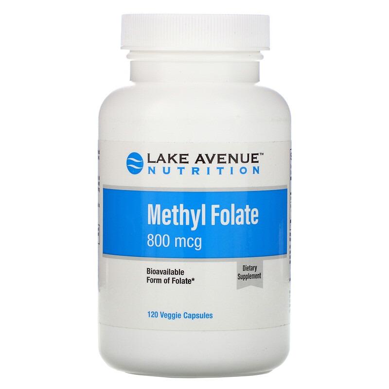 Lake Avenue Nutrition, Метилфолат, 800 мкг, 120 растительных капсул