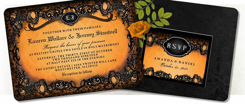 Halloween Orange Black Elegant Wedding Invitations – Halloween Wedding Reception Invitations