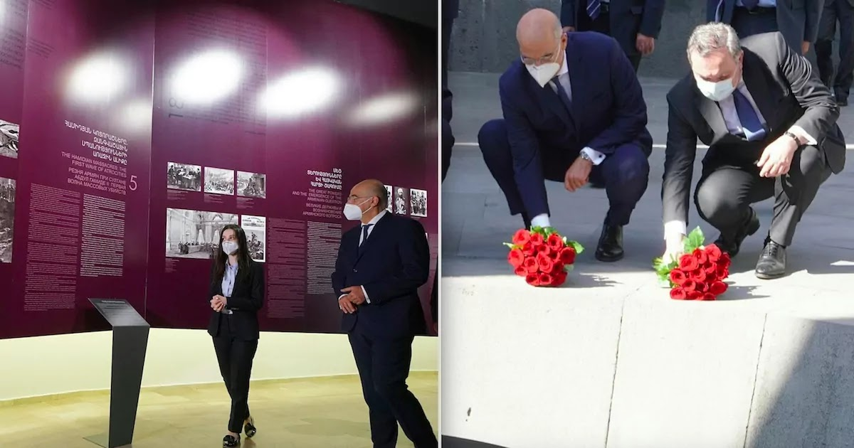Greece Foreign Minister Travels to Yerevan And Lays Flowers At The Armenian Genocide Memorial