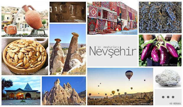 Nevşehir'in meşhur şeylerini gösteren resimlerden oluşan kolaj