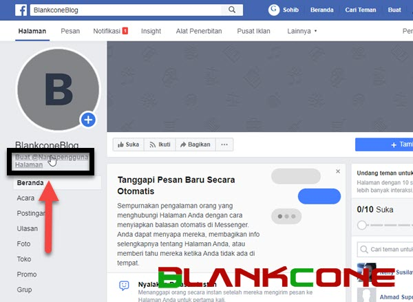 cara mengganti nama pengguna fanspae facebook
