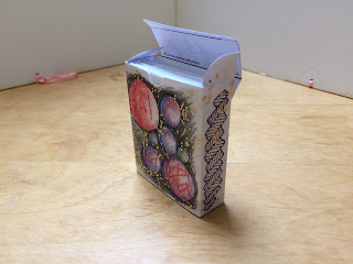 Box for flashcards decorated with ModPodge and glitter