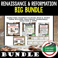 Renaissance, Reformation, Ancient World History Mega Bundle, Ancient World History Curriculum, World History Digital Interactive Notebooks, World History Choice Boards, World History Test Prep, World History Guided Notes, World History Word Wall Pennants, World History Game Cards, World History Timelines