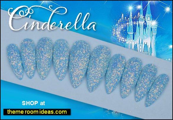 Cinderella frosted nail design glitter nails cinderella nails
