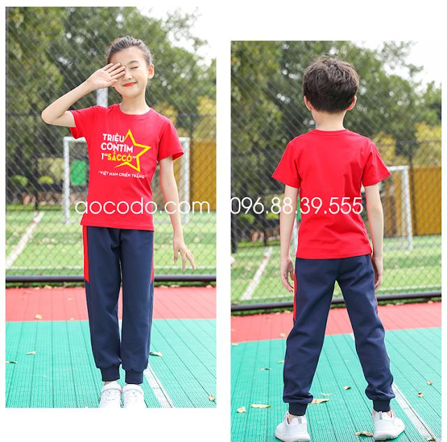 Áo phông cờ đỏ sao vàng cách điệu cho bé vui chơi