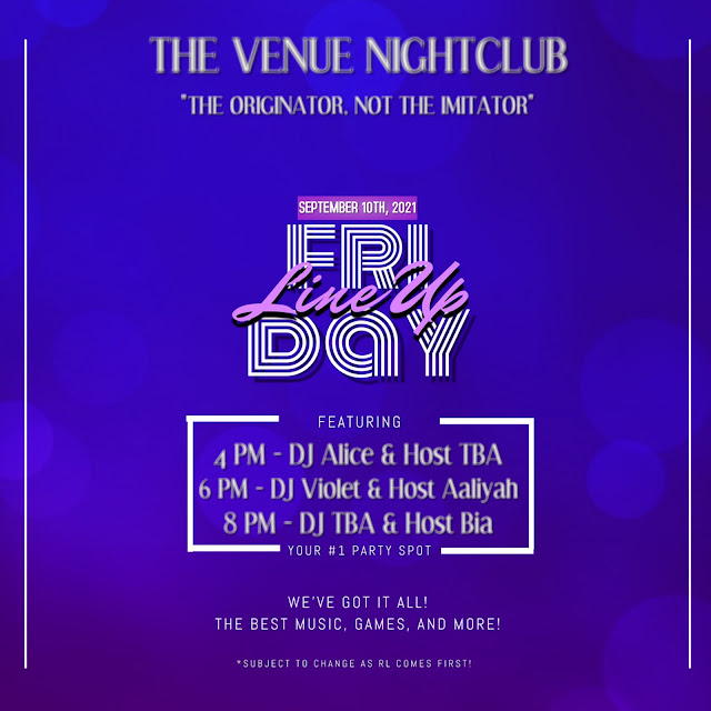 The Venue Nightclub: Today's Line Up - September 10th, 2021