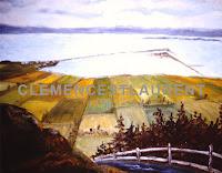 Barachois de Carleton vus du Mont St-Joseph en automne, 1966 - tableau par Clémence St-Laurent