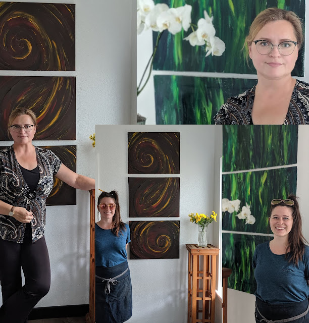 Artist Irina Sztukowski and Cafe Manager Drea Shelepova at Portland Cafe