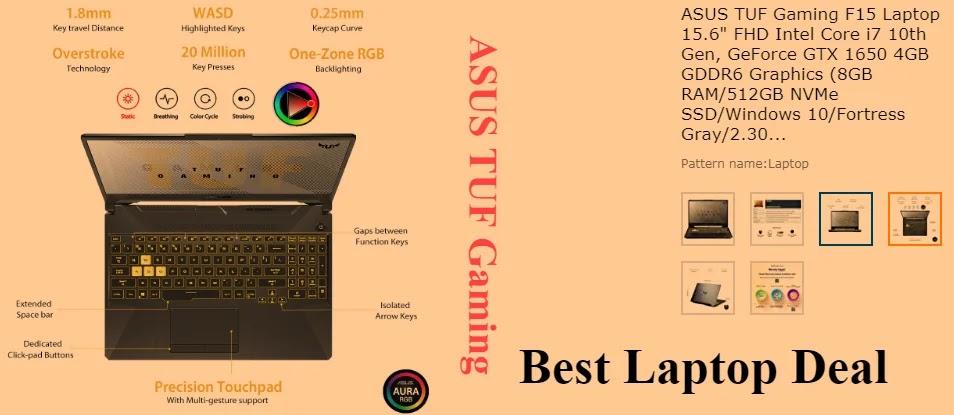 "ASUS TUF Gaming F15 Laptop 15.6"" FHD Intel Core i7 10th Gen"