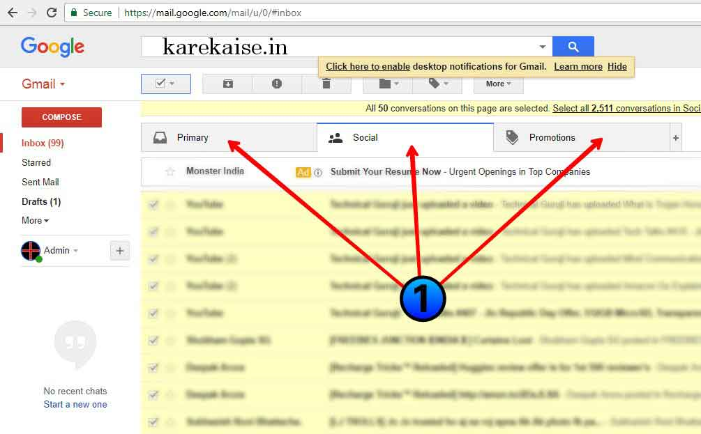 single click me sabhi email kaise delete kare