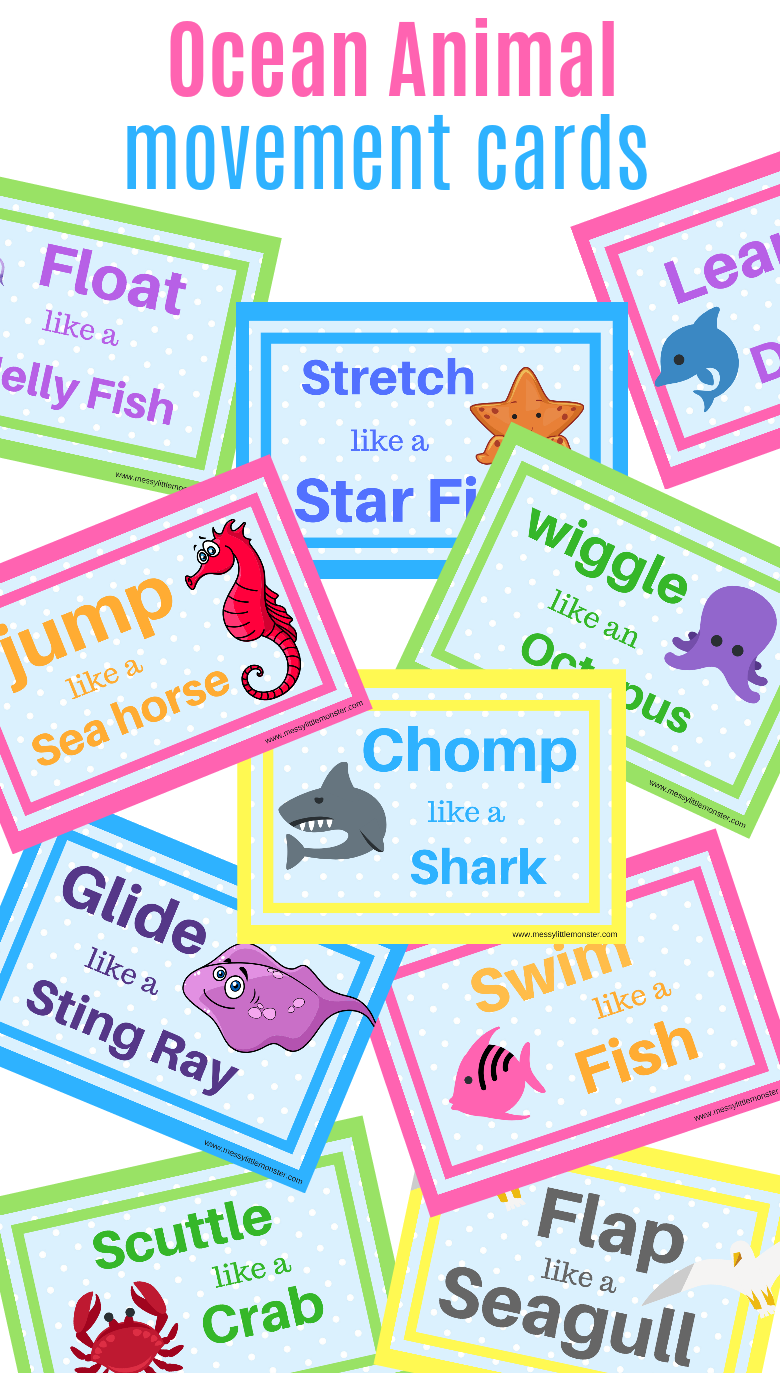 Ocean animal action cards printable. Use as movement break cards