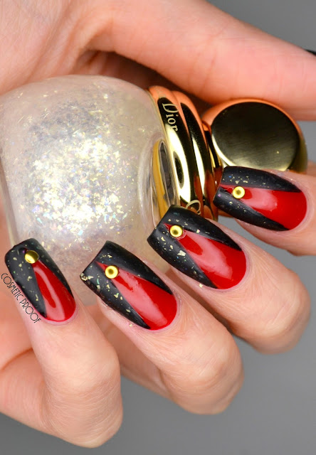 Red and Black Nail Art with Dior Nova